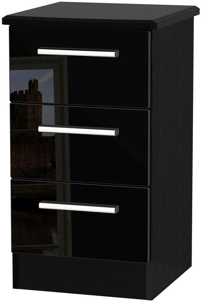 Clearance Knightsbridge High Gloss Black Bedside Cabinet - 3 Drawer Locker - A78
