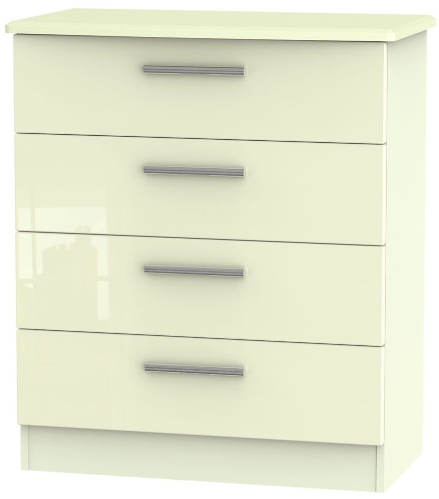 Clearance Knightsbridge High Gloss Cream Chest of Drawer - 4 Drawer - A77