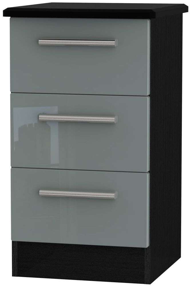 Clearance Knightsbridge High Gloss Grey and Black Bedside Cabinet - 3 Drawer Locker - A65