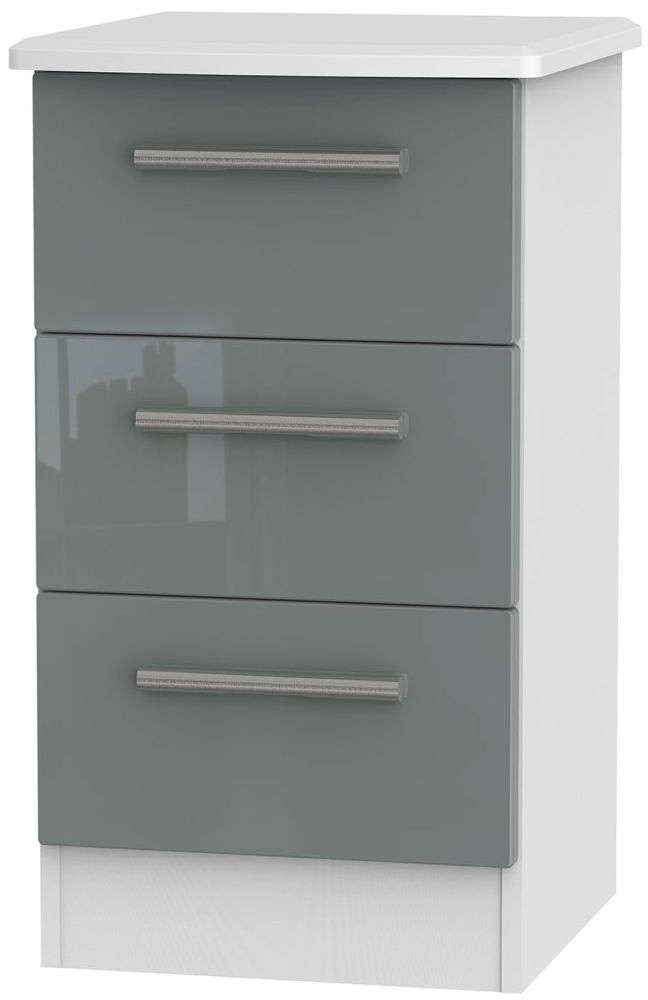 Clearance Knightsbridge High Gloss Grey and White Bedside Cabinet - 3 Drawer Locker - A45