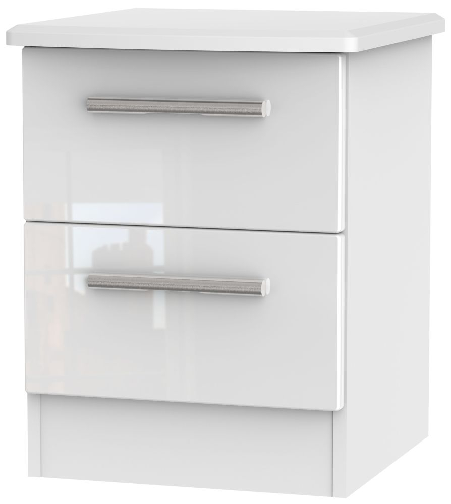 Clearance Knightsbridge High Gloss White and Light Oak Bedside Cabinet - 2 Drawer Locker - A58