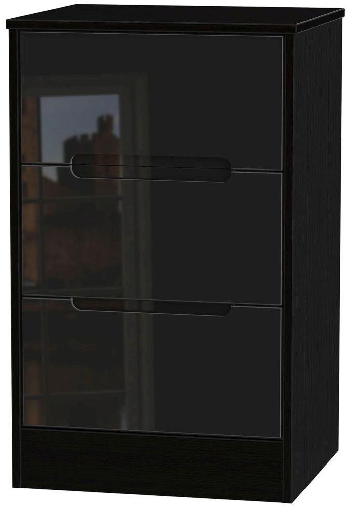 Clearance Monaco High Gloss Black Bedside Cabinet - 3 Drawer Locker - W19