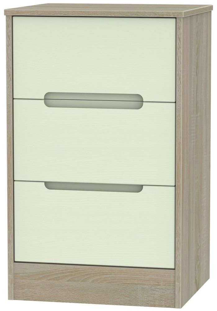 Clearance Monaco White with Bardolino Bedside Cabinet - 3 Drawer Locker
