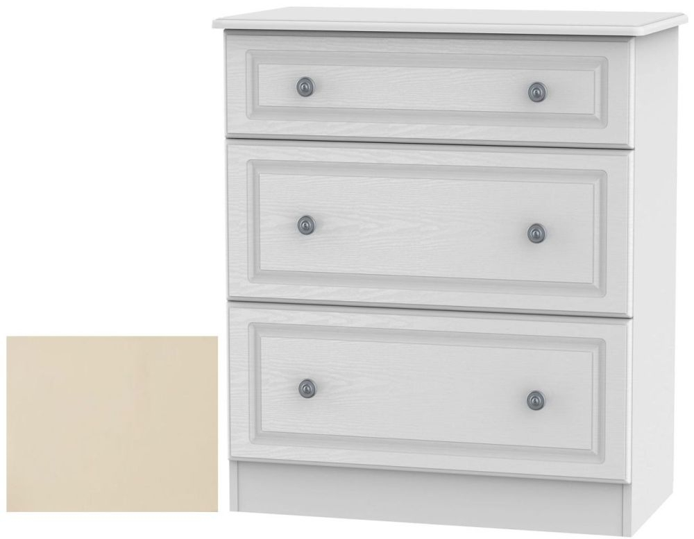 Clearance Pembroke Cream Chest of Drawer - 3 Drawer Deep - G396