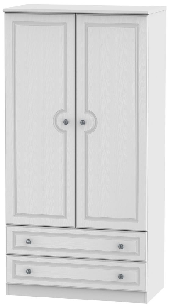 Clearance Pembroke White Wardrobe - 3ft with 2 Drawer - GW10
