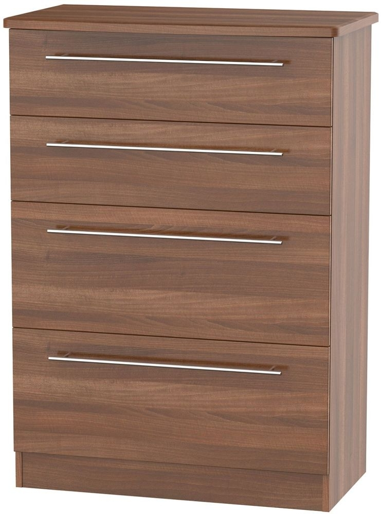 Clearance Sherwood Noche Walnut Chest of Drawer - 4 Drawer Deep - A74
