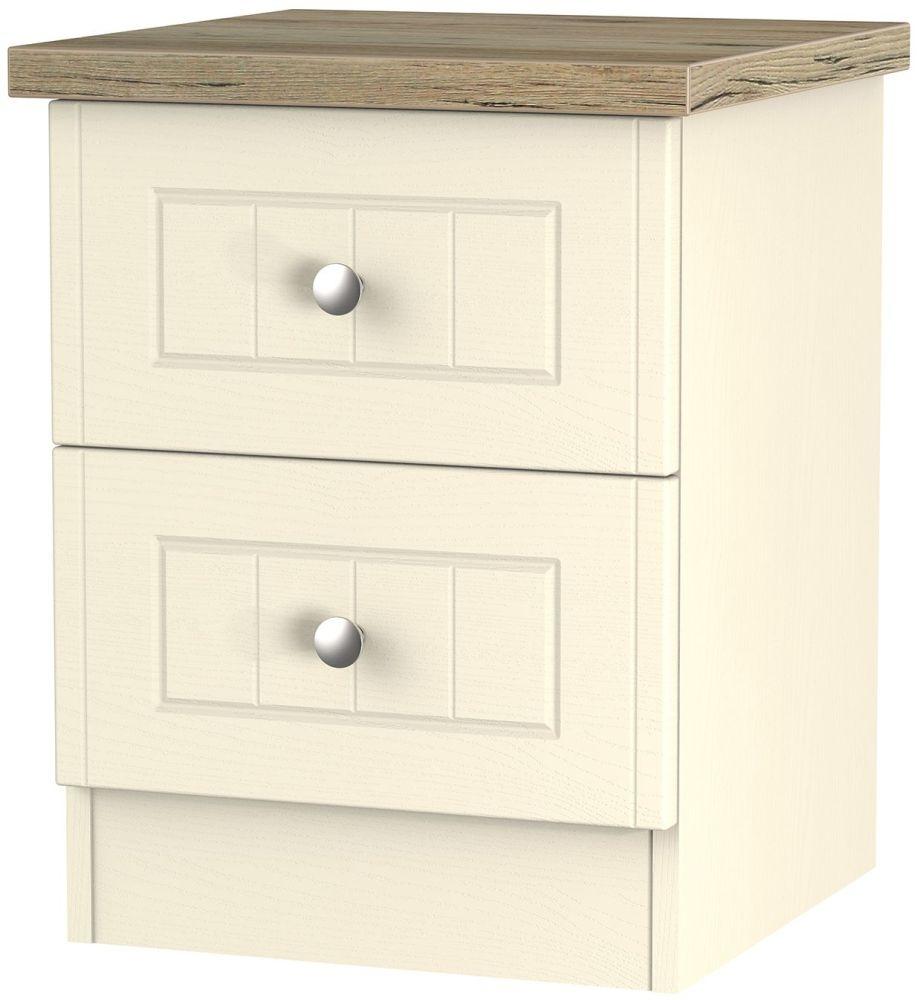 Clearance Vienna Cream Ash Bedside - 2 Drawer Locker - A17