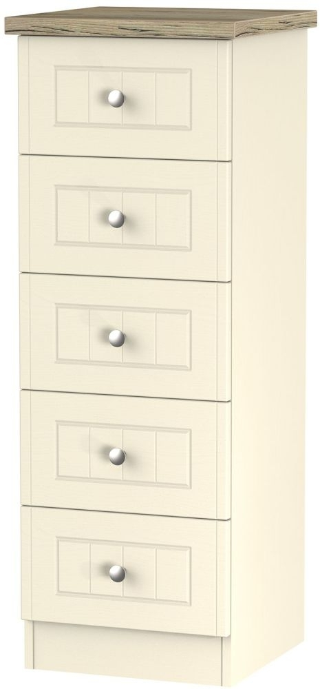 Clearance Vienna Cream Ash Chest of Drawer - 5 Drawer Locker - G347