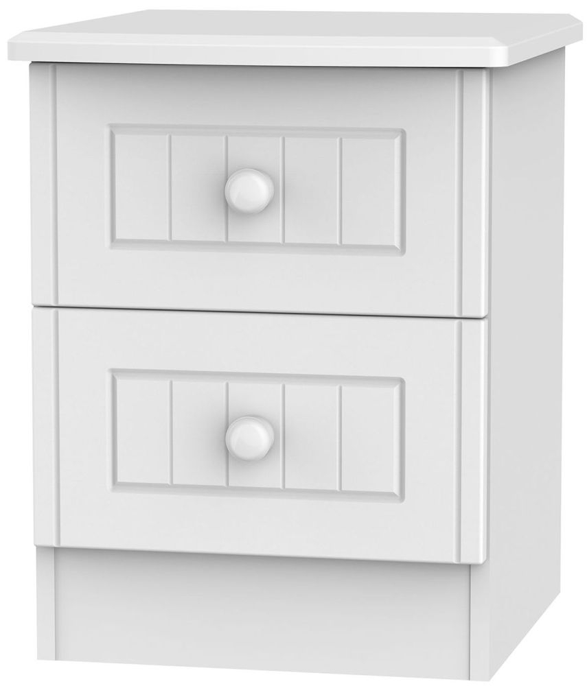 Clearance Warwick White Bedside Cabinet - 2 Drawer Locker - G345