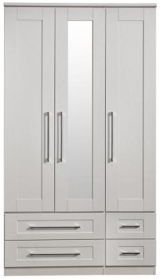 York Grey Ash 3 Door 4 Drawer Tall Mirror Wardrobe