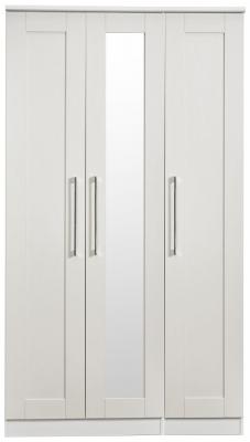 York Grey Ash 3 Door Tall Mirror Wardrobe