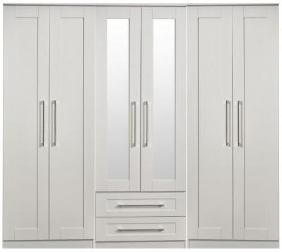 York Grey Ash 6 Door Tall Mirror Combi Wardrobe