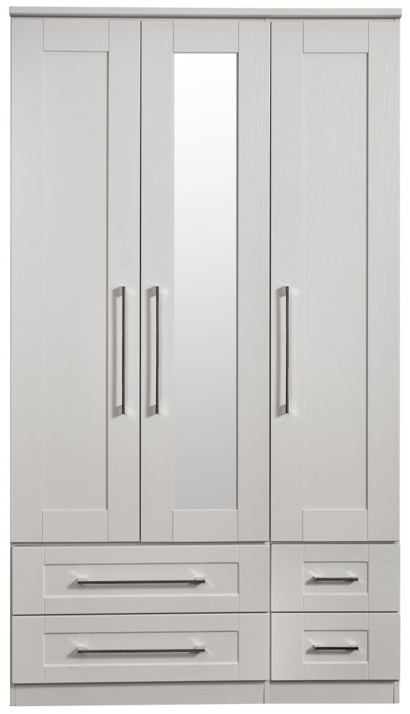York Grey Ash 3 Door 4 Drawer Tall Mirror Wardrobe