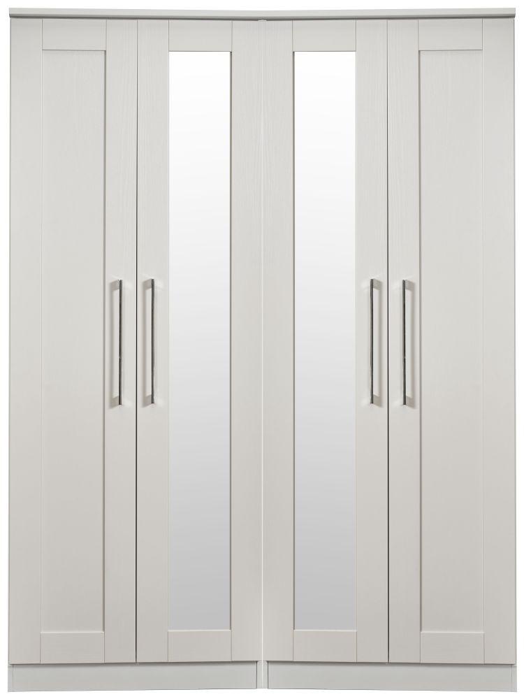 York Grey Ash 4 Door Tall Mirror Wardrobe