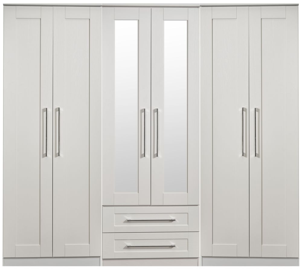 York Grey Ash 6 Door Tall Mirror Combi Wardrobe