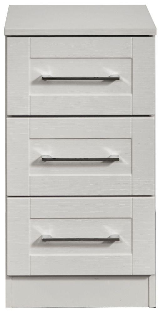 York Grey Ash 3 Drawer Beside Cabinet