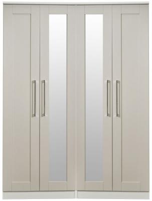 York Kaschmir Ash 4 Door Tall Mirror Wardrobe