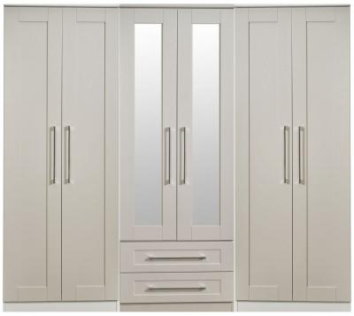 York Kaschmir Ash 6 Door Tall Mirror Combi Wardrobe