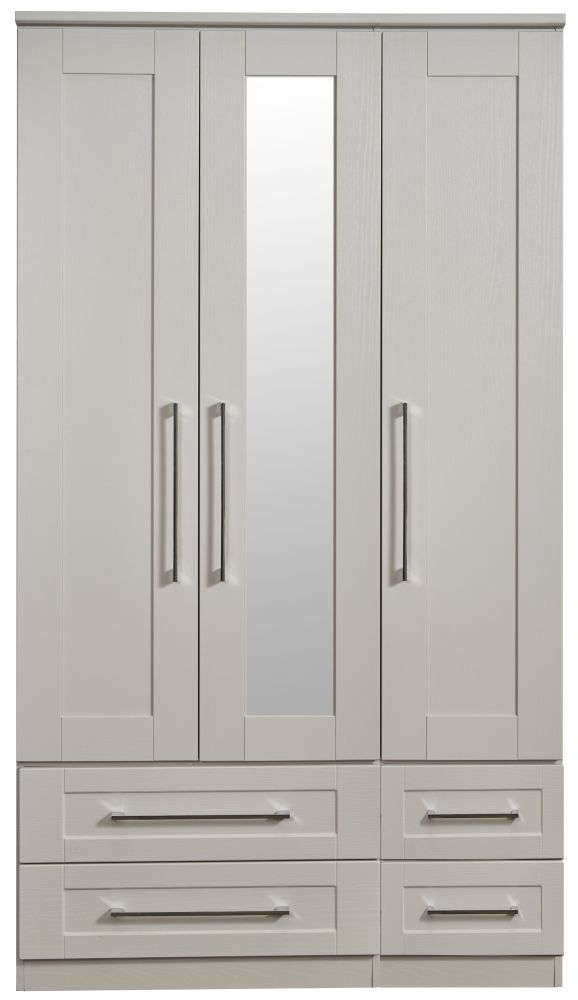 York Kaschmir Ash 3 Door Tall Mirror Combi Wardrobe