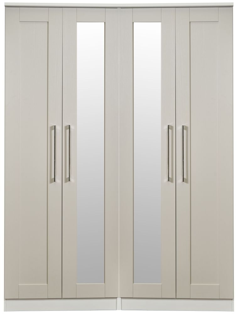 York Kaschmir Ash 4 Door Tall Mirror Wardrobe