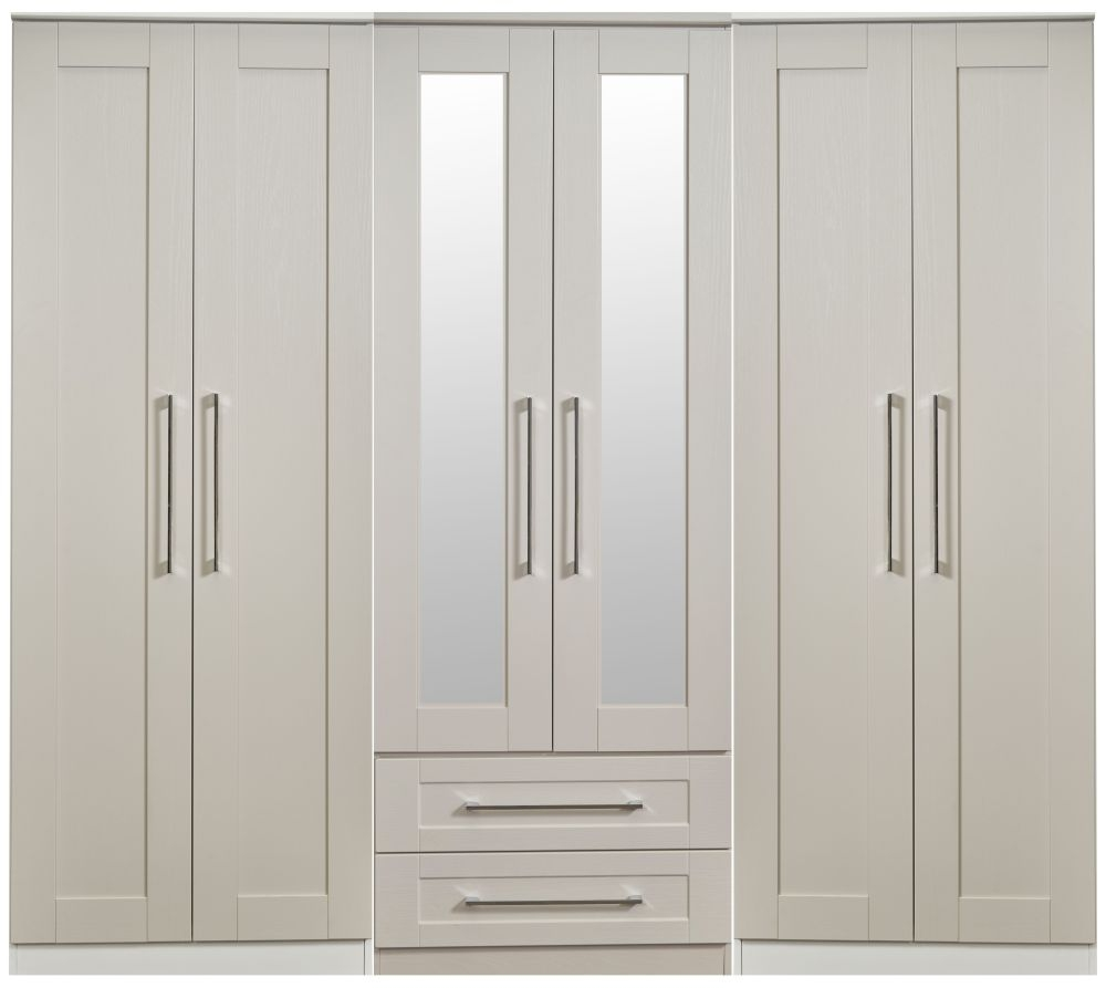 Buy york kaschmir ash 6 door tall mirror combi wardrobe online cfs uk