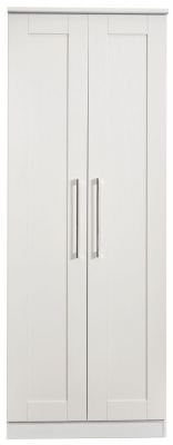 York White Ash 2 Door Tall Wardrobe
