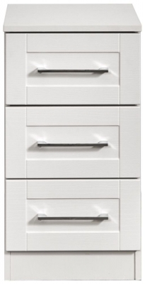 York White Ash 3 Drawer Bedside Cabinet