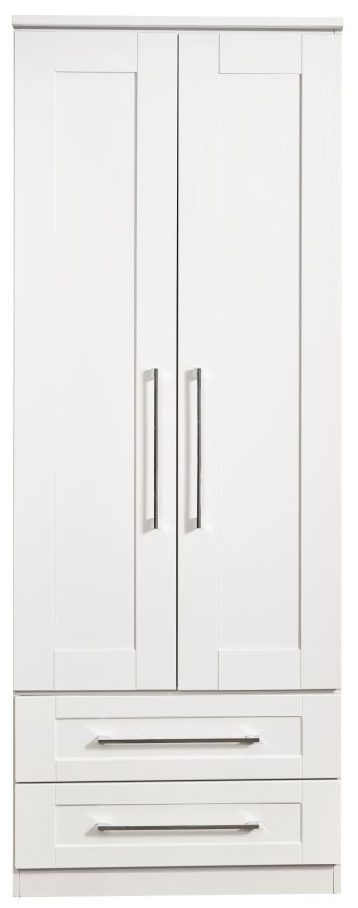 York White Ash 2 Door 2 Drawer Tall Wardrobe
