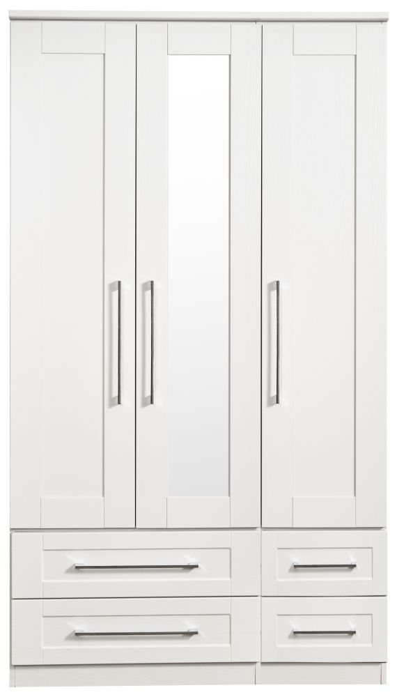 York White Ash 3 Door Tall Mirror Combi Wardrobe
