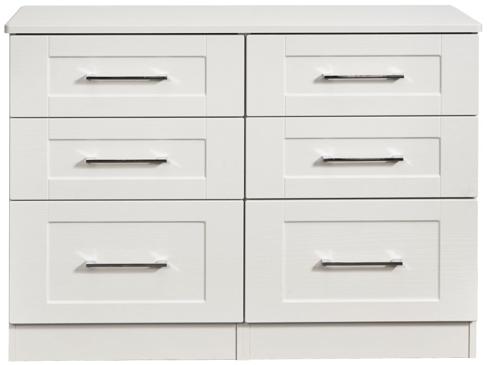 York White Ash 6 Drawer Midi Chest