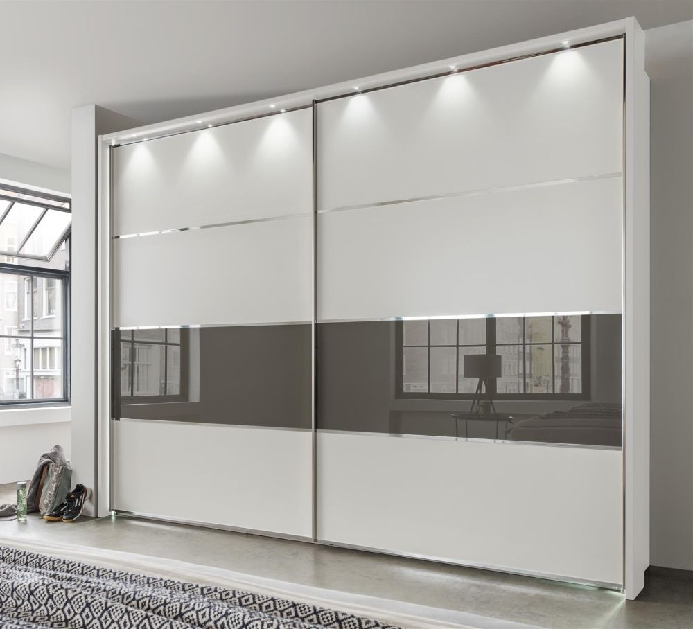 Wiemann Alassio 4 Door Sliding Wardrobe in Alpine White and Havana Glass with LED Light and Passepartout - W 300cm