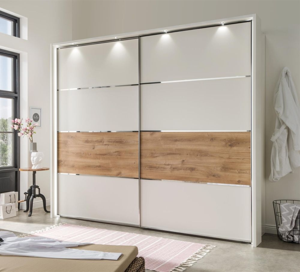 Wiemann Alassio Sliding Wardrobe with Timber Oak Second Panel from Bottom