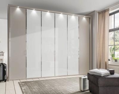 Wiemann All In 6 Door Wardrobe in Pebble Grey and White Glass - W 300cm