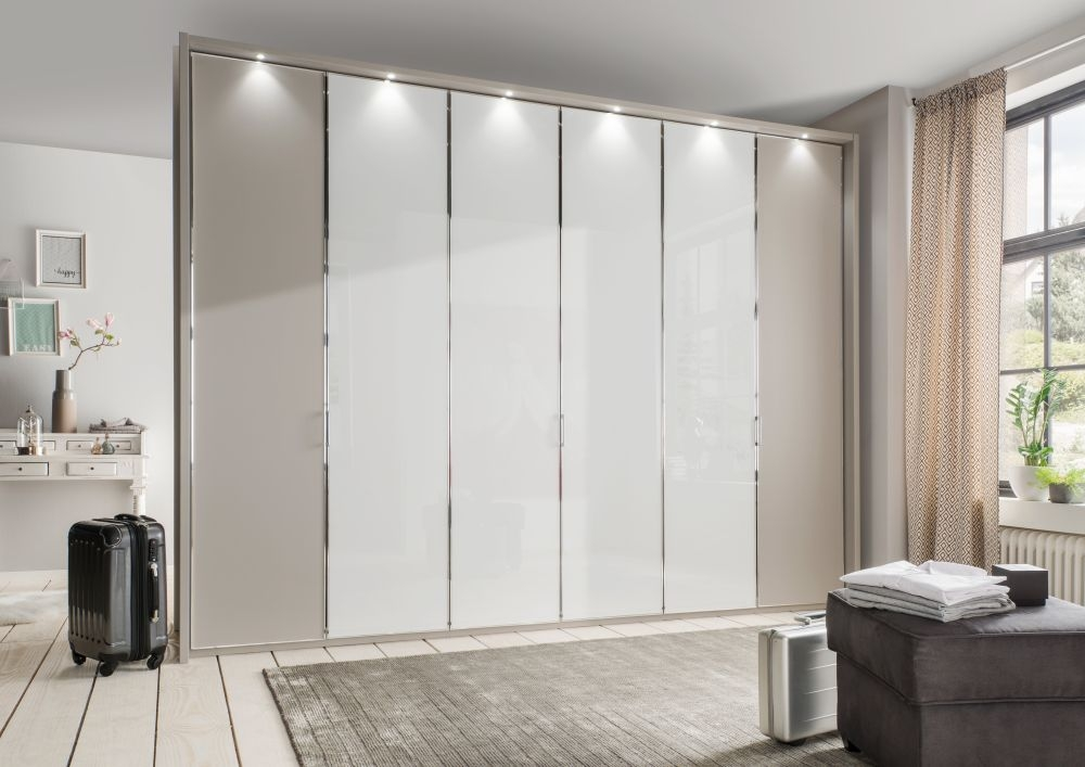 Wiemann All-In 4 Door 2 White Glass Door Wardrobe in Pebble Grey - W 200cm