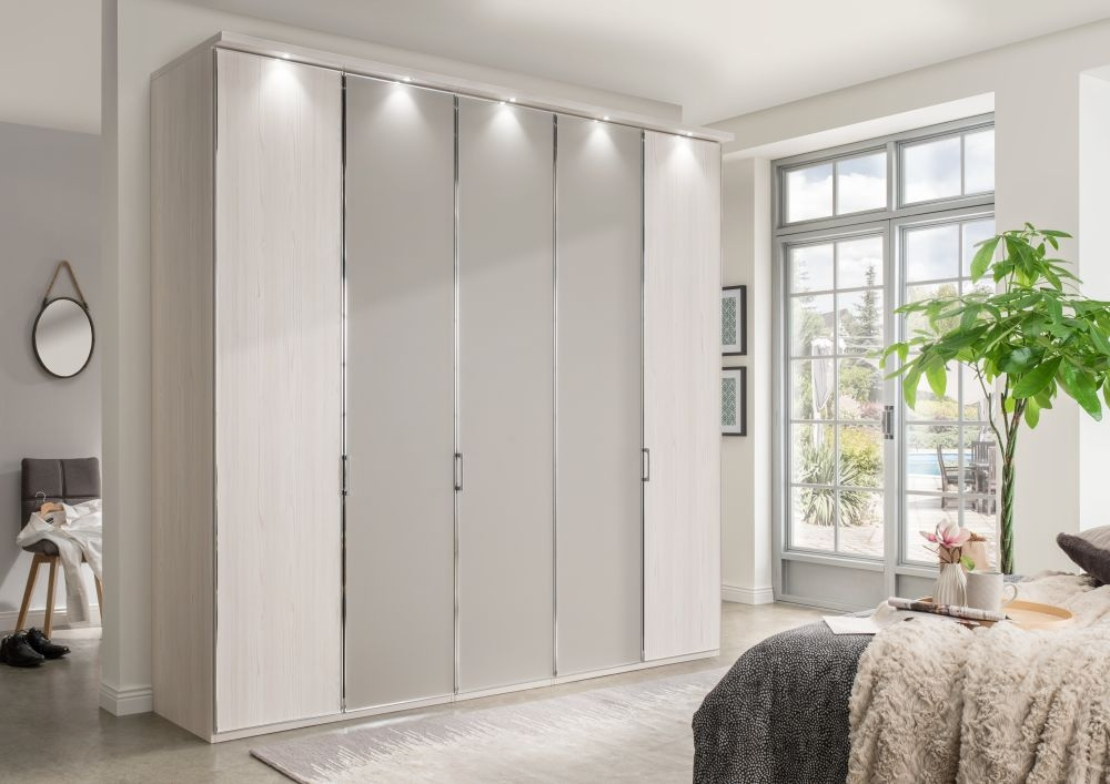 Wiemann All-In 5 Door 3 Pebble Grey Door Wardrobe in Polar Larch - W 250cm