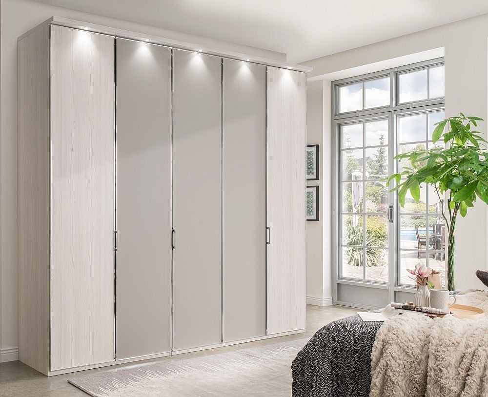 Wiemann All In 5 Door Wardrobe in Polar Larch and Pebble Grey - W 250cm
