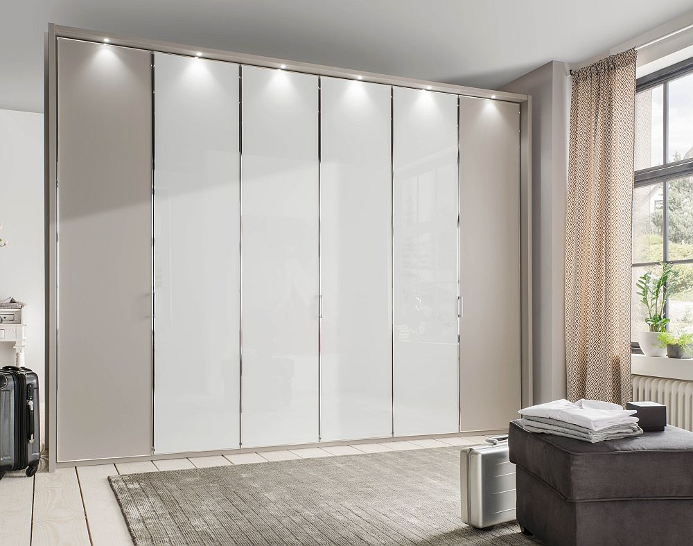 Wiemann All In 6 Door Wardrobe in Pebble Grey and White Glass - W 300cm