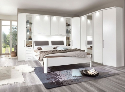 Wiemann Almeria Overbed Unit with 40cm Occasional Wardrobe and 160cm Bed in White - W 160cm