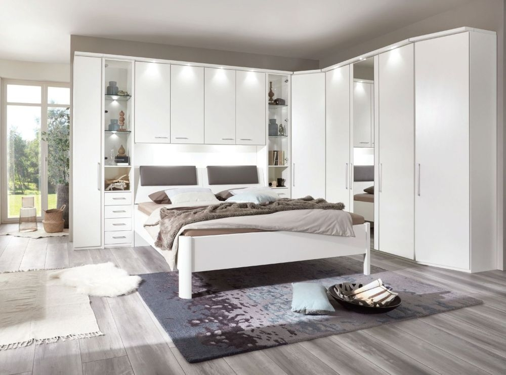 Wiemann Almeria Overbed Unit with 40cm Occasional Wardrobe and 140cm Bed in White - W 140cm