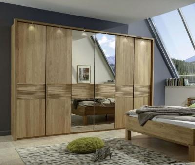 Wiemann Amalfi 6 Door Mirror Wardrobe in Semi-Solid Alder and Structure Cross Trim - W 300cm