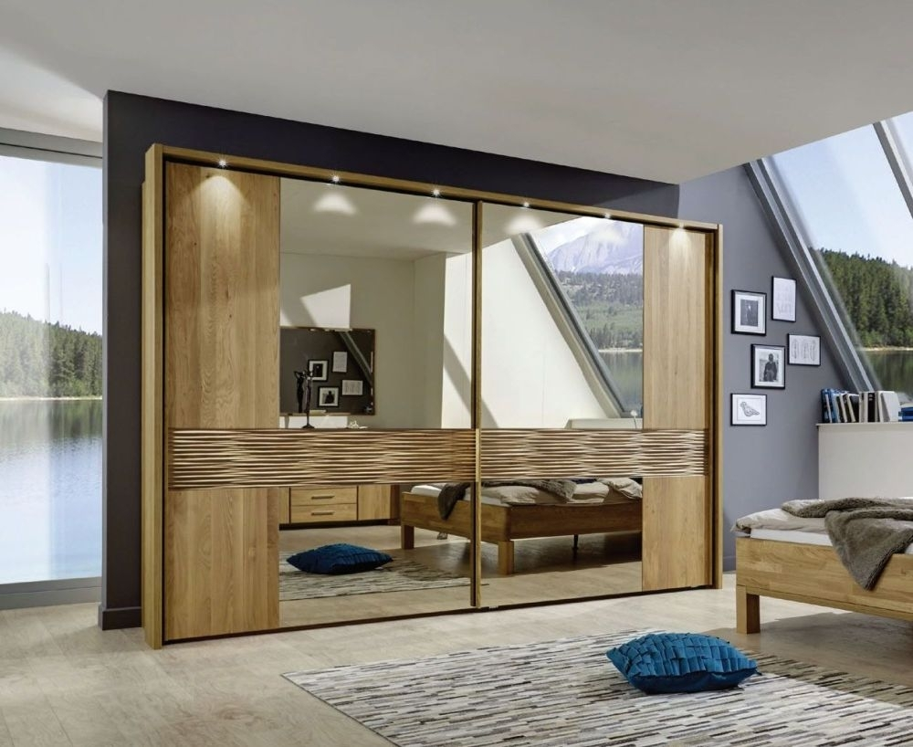 Wiemann Amalfi 2 Door Sliding Wardrobe in Semi-Solid Alder and Structure Cross Trim - W 300cm