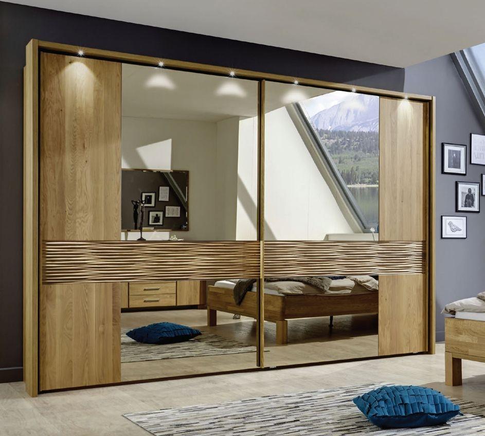 Wiemann Amalfi 2 Door Structure Nature Cross Trim Sliding Wardrobe in Semi-Solid Oak - W 250cm