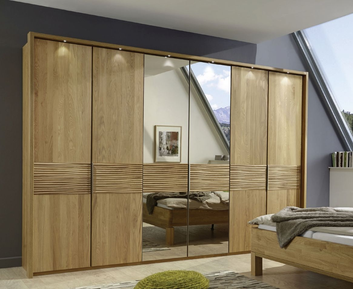 Wiemann Amalfi 6 Door 4 Mirror Structure Nature Cross Trim Wardrobe in Semi-Solid Oak - W 300cm