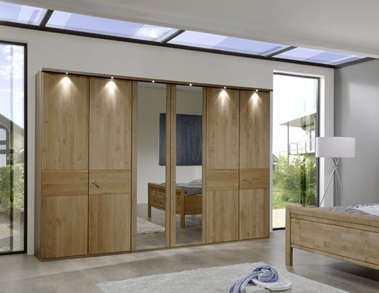 Wiemann Amalfi 6 Door Mirror Wardrobe in Semi-Solid Alder and Plain Cross Trim - W 300cm