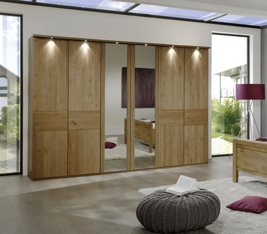 Wiemann Amalfi 7 Door 1 Mirror Plain Cross Trim Wardrobe in Semi-Solid Alder with Handle Lock - W 350cm