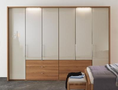 Wiemann Amato 6 Door Bi fold Wardrobe in Oak and Champagne Glass - W 300cm