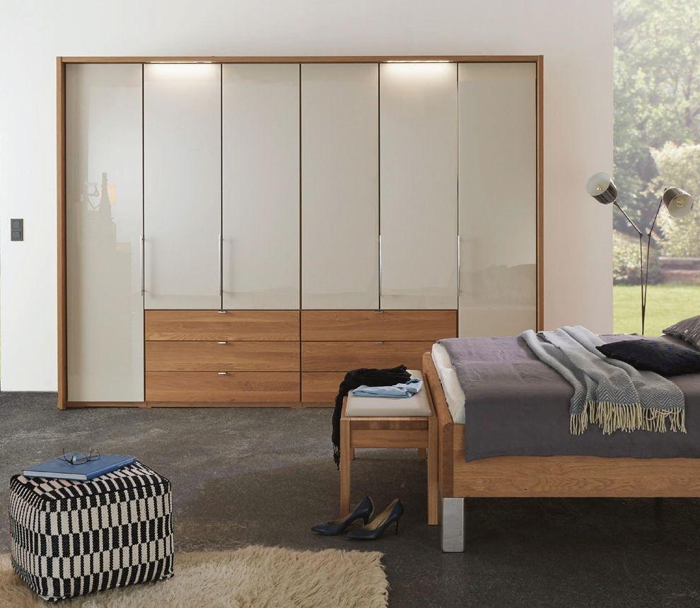 Wiemann Amato 5 Door 3 Drawer Bi-fold Wardrobe in Oak and Champagne Glass - W 250cm
