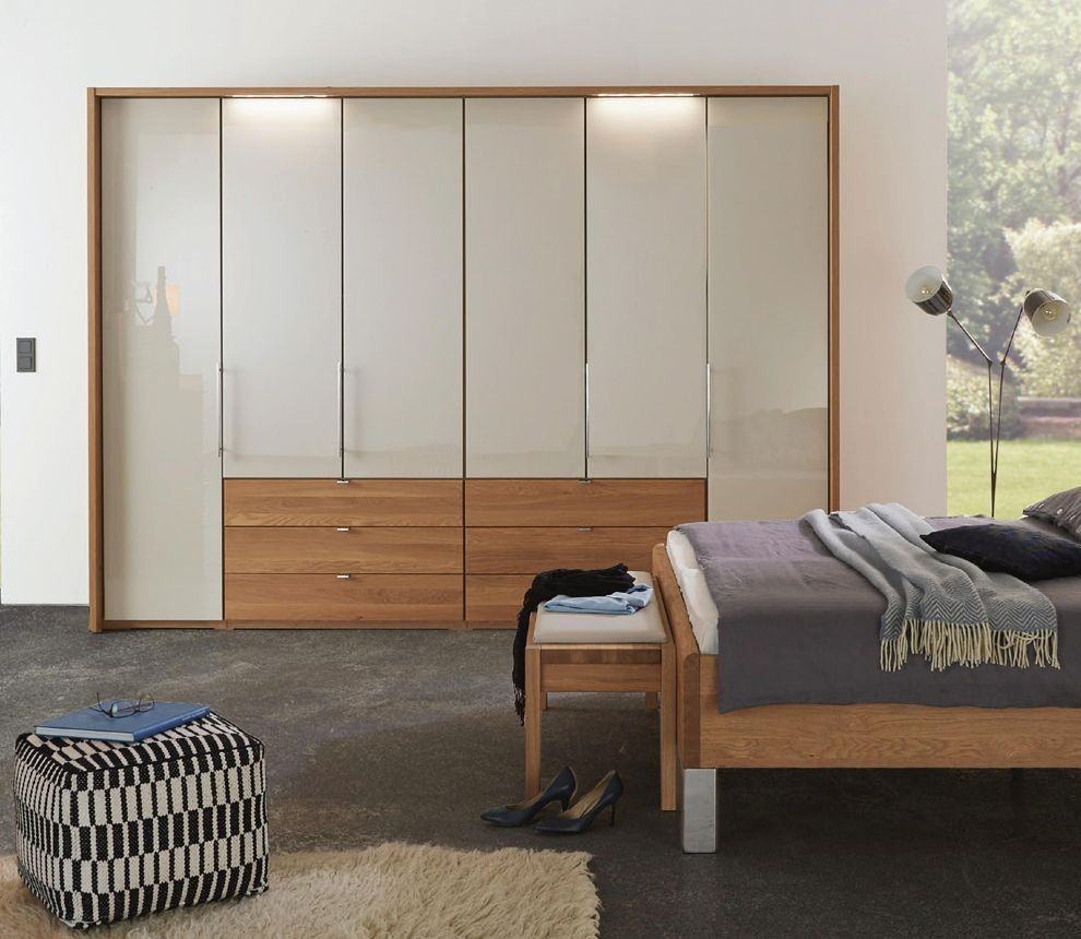 Wiemann Amato 6 Door 3 Drawer Bi-fold Wardrobe in Oak and Champagne Glass - W 300cm