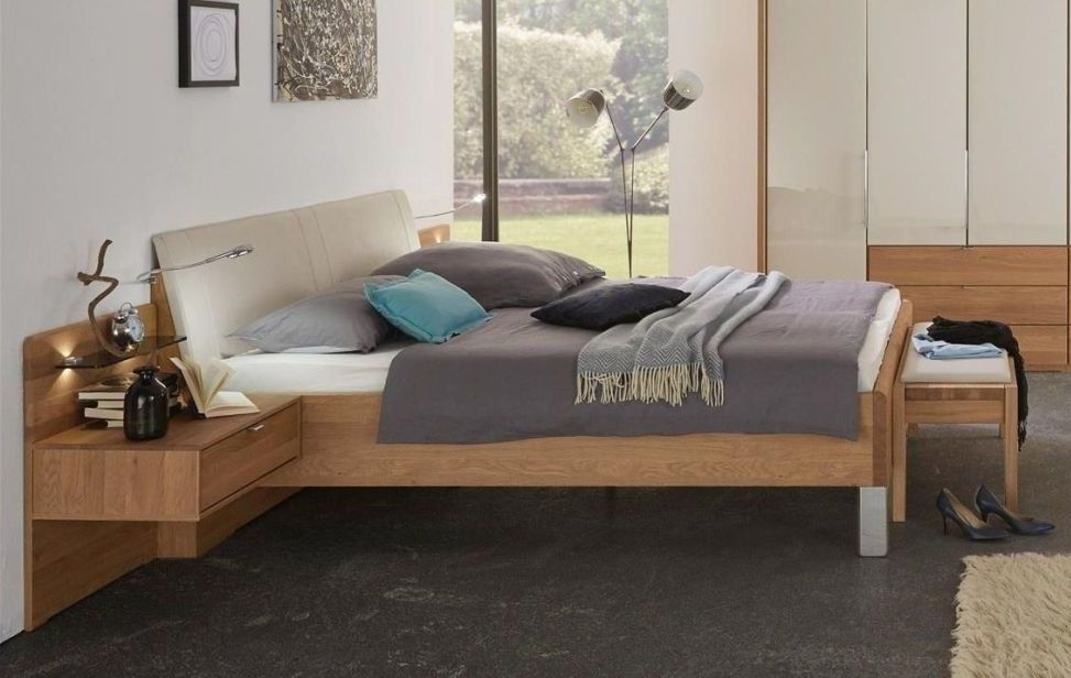 Wiemann Amato 6ft Queen Size Leather Cushion Bed in Oak and Champagne with Chrome Angled Feet - 180cm x 200cm