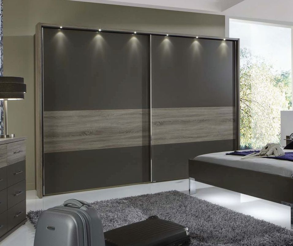 Wiemann Ancona Dark Rustic Oak with Havana 2 Door Sliding Wardrobe with Carcase Colour Cross Trim - W 250cm